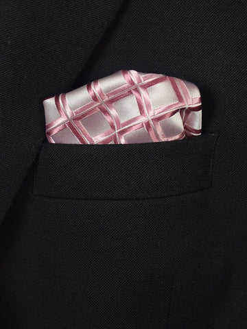 Boy's Pocket Square 19402 Pink/Silver Neat Boys Pocket Square Heritage House