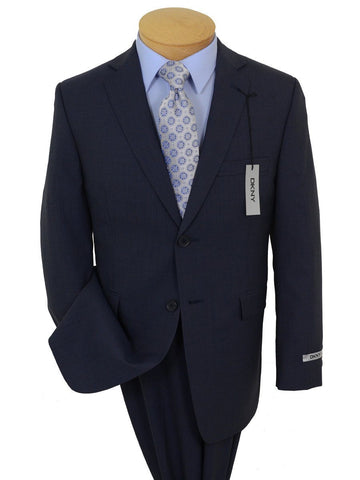DKNY 19423 100% Wool Boy's 2-Piece Suit - Mini Check - 2- Button Single Breasted Jacket, Plain Front Pant Boys Suit DKNY