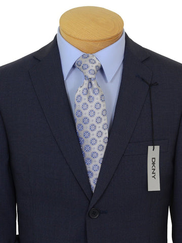 Image of DKNY 19423 100% Wool Boy's 2-Piece Suit - Mini Check - 2- Button Single Breasted Jacket, Plain Front Pant Boys Suit DKNY