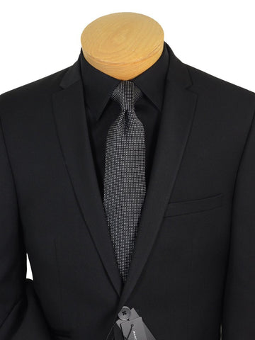 Andrew Marc 19443 Skinny Fit-Boy's Suit- Solid Gabardine-Black Boys Suit Andrew Marc 8 REG Black