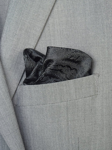 Boy's Pocket Square 19469 Black Paisley Boys Pocket Square Heritage House
