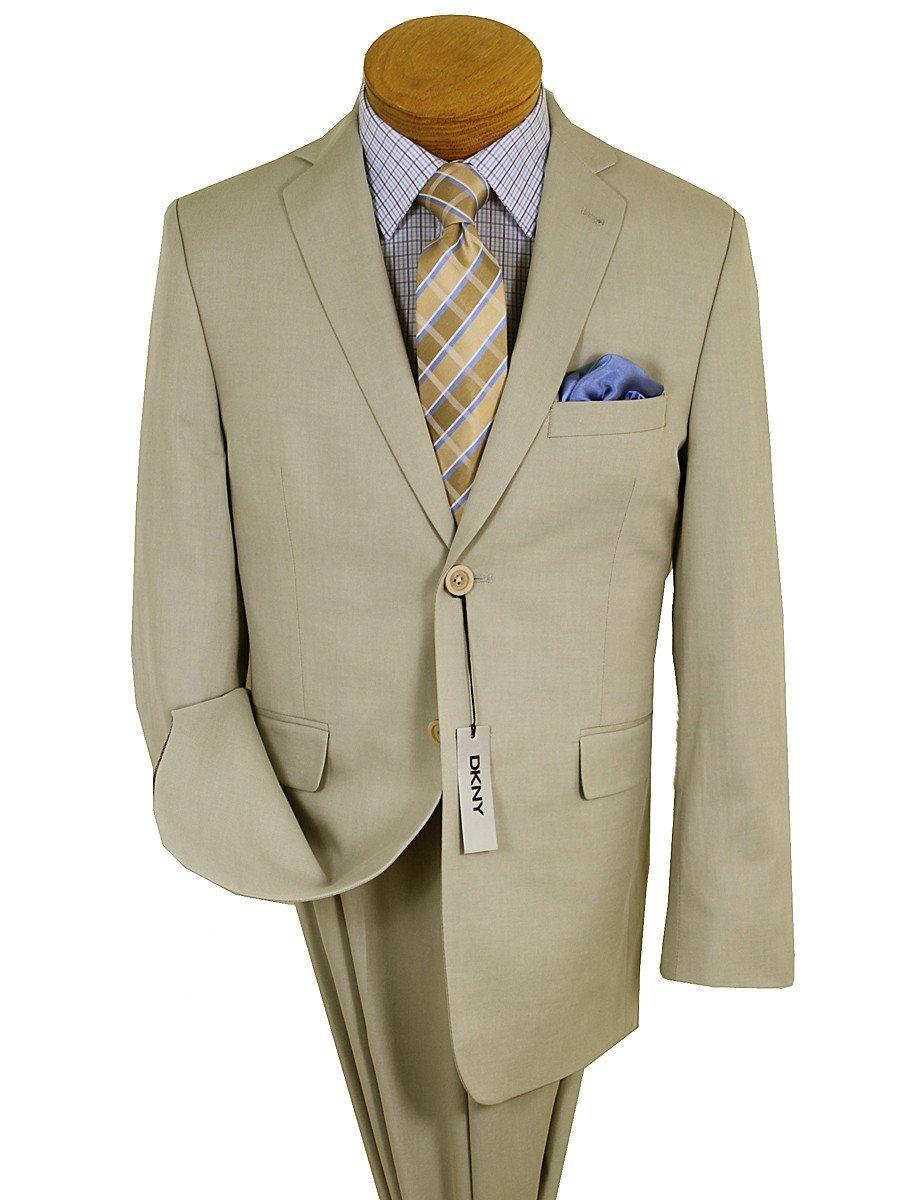 DKNY 19499 100% Cotton Boy's 2-Piece Suit - Twill -2-Button Single Breasted Jacket, Plain Front Pant Boys Suit DKNY