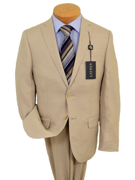 Lauren Ralph Lauren 19527 100% Linen Boy's Suit Separate Jacket - Linen - Tan, 2-Button Single Breasted
