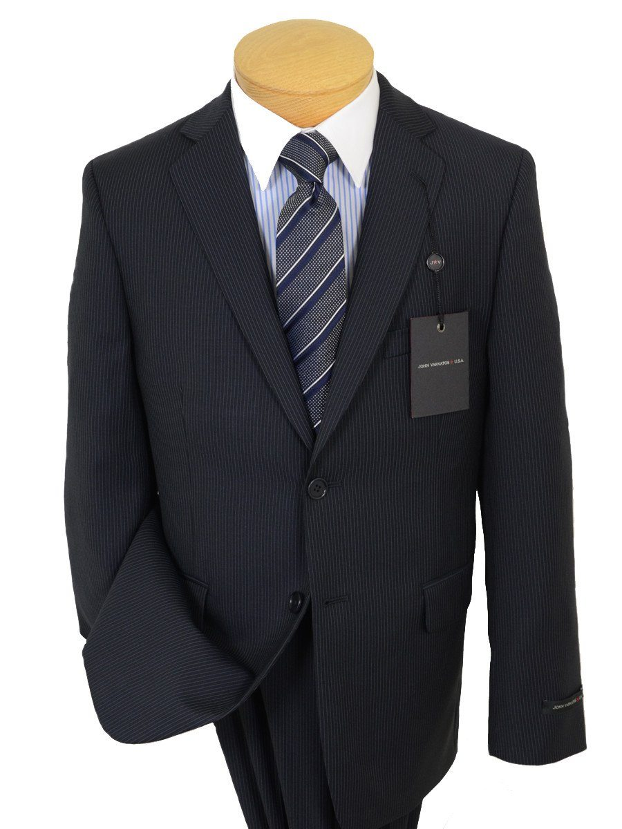 John Varvatos 19563 100% Wool Boy's 2-Piece Suit - Stripe - Navy, 2-Button Single Breasted Jacket, Plain Front Pant