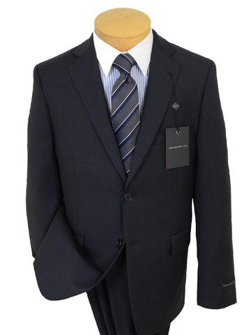 Image of John Varvatos 19563 100% Wool Boy's 2-Piece Suit - Stripe - Navy, 2-Button Single Breasted Jacket, Plain Front Pant Boys Suit John Varvatos