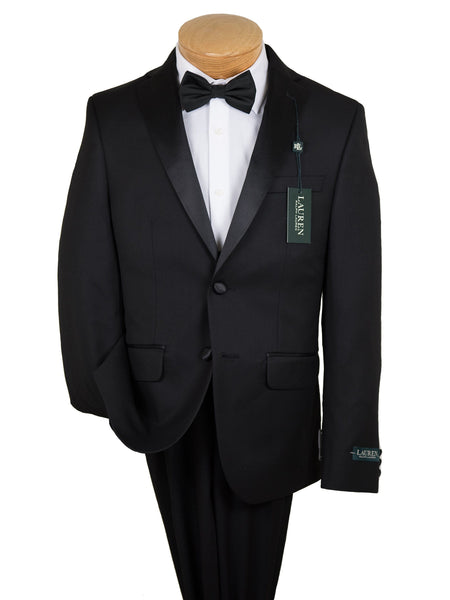 Lauren Ralph Lauren 19588 80% Polyester/ 20% Rayon Boy's 2-Piece Suit - Tuxedo - 2-Button Single Breasted Jacket, Plain Front Pant From