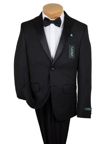 Image of Lauren Ralph Lauren 19588 80% Polyester/ 20% Rayon Boy's 2-Piece Suit - Tuxedo - 2-Button Single Breasted Jacket, Plain Front Pant From Boys Tuxedo Lauren