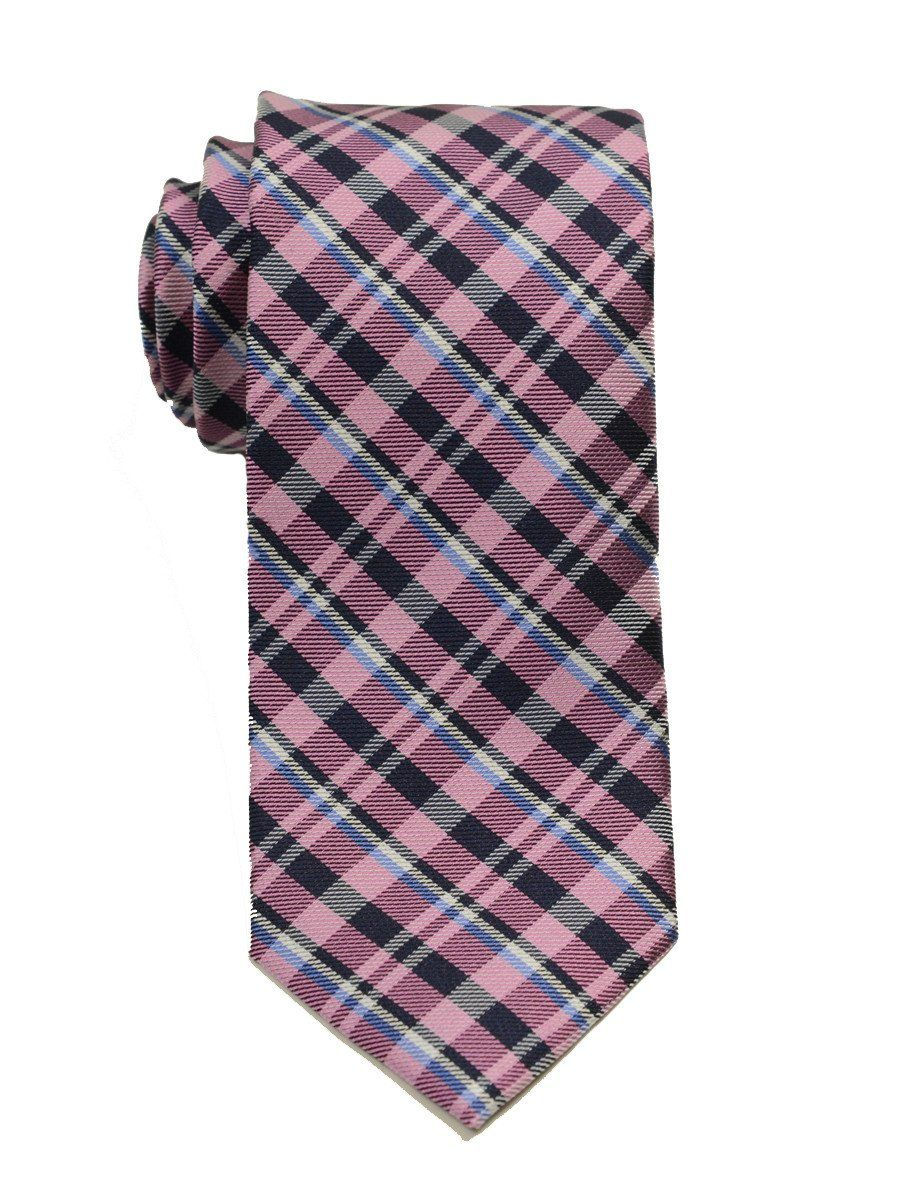 Heritage House 19752 100% Woven Silk Boy's Tie - Plaid - Pink/Blue/Navy