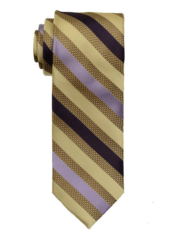 Heritage House 19769 100% Woven Silk Boy's Tie - Stripe - Tan/Purple Boys Tie Heritage House