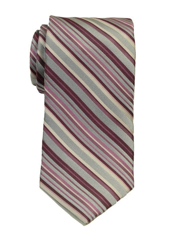 Heritage House 19777 100% Woven Silk Boy's Tie - Stripe - Silver/Rose Boys Tie Heritage House