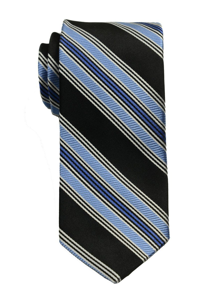 Heritage House 19783 100% Woven Silk Boy's Tie - Stripe - Black/Blue