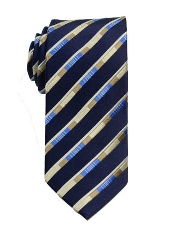 Heritage House 19795 100% Woven Silk Boy's Tie - Stripe - Navy/Khaki Boys Tie Heritage House