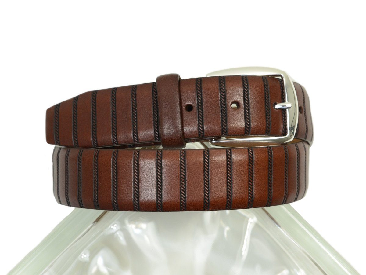 Brighton 19852 100% Full grain leather Boy's Belt - Twisted Column Design Band - Brown, Silver Buckle