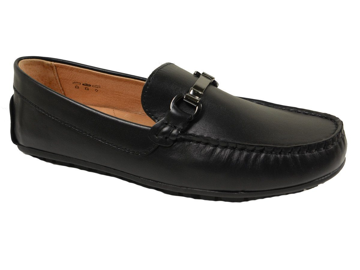 Umi 20010 Leather Boy's Shoe - Driving Bit Loafer - Black