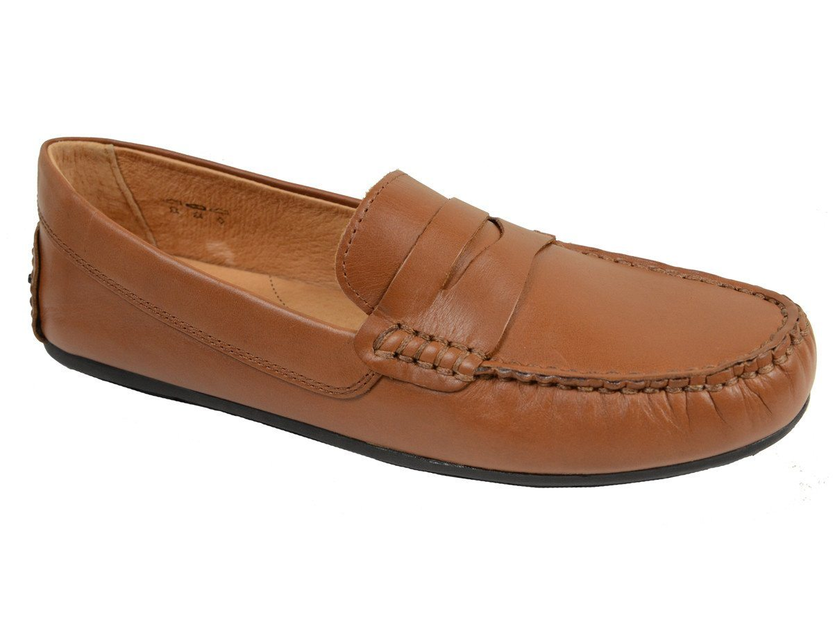 Umi 20032 100% Leather and Lining Boy's Loafer Shoes - Driving Penny - Cogn, Man-made Outsole