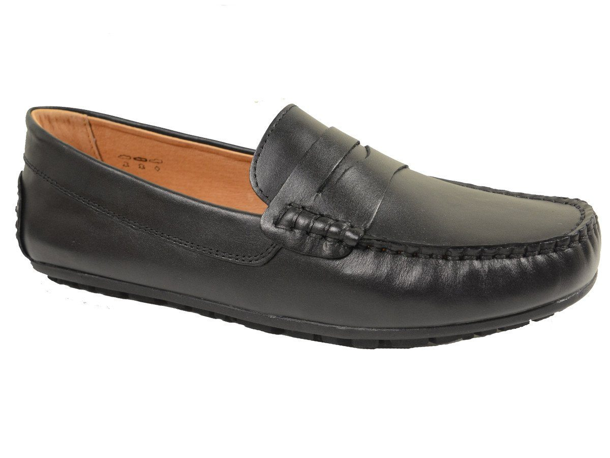 Umi 20047 100% Leather and Lining Boy's Loafer Shoes - Driving Penny - Black, Man-made Outsole