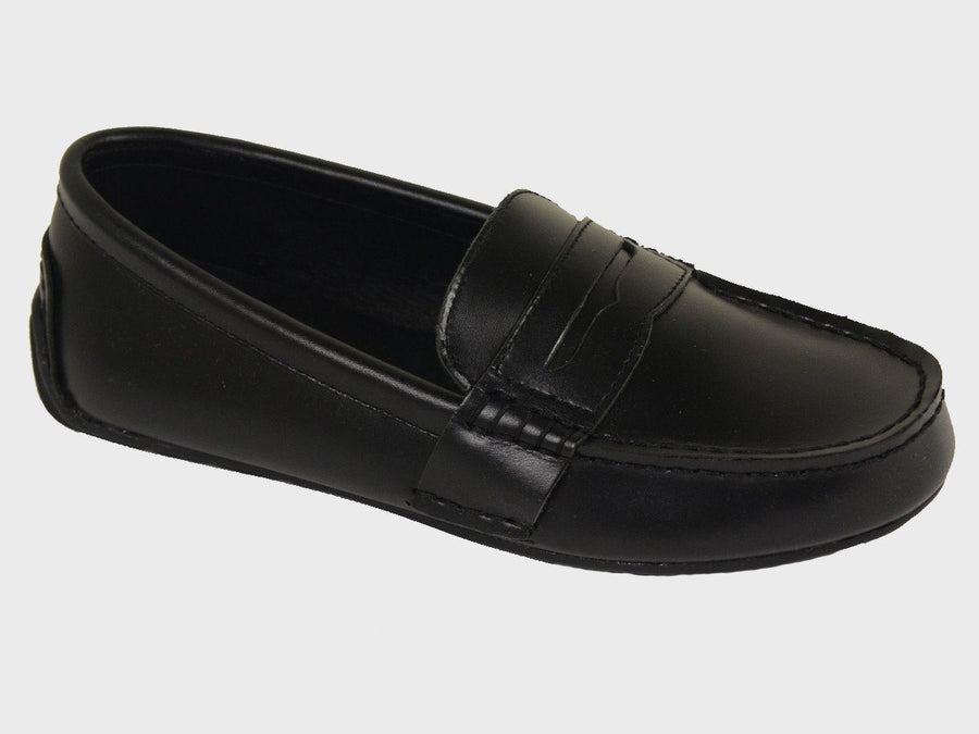 Polo 20058 100% Leather and Lining Boy's Loafer Shoes - Driving Penny - Black, Rubber Sole with treaded heel Boys Shoes Polo