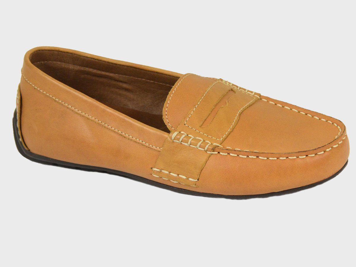 Polo 20066 100% Leather and Lining Boy's Loafer Shoes - Driving Penny - Tan, Rubber Soles