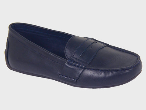 Polo 20074 100% Leather and Lining Boy's Loafer Shoes - Driving Penny - Navy, Top Stitching at the toe Boys Shoes Polo