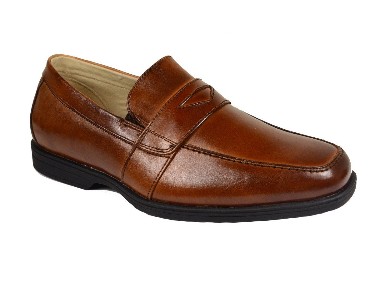 Florsheim 20158 Leather Boy's Dress Shoes - Penny Loafer - Cogn, Leather Lining