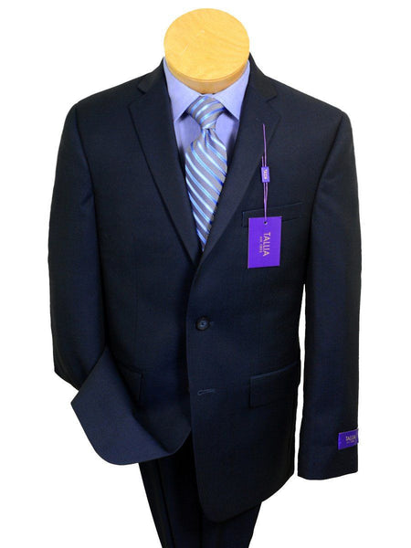 Tallia Purple 20235 70% Wool/ 30% Polyester Boy's 2-piece Suit - Sharkskin - Blue - 2-Button Single Breasted Jacket, Plain Front Pant