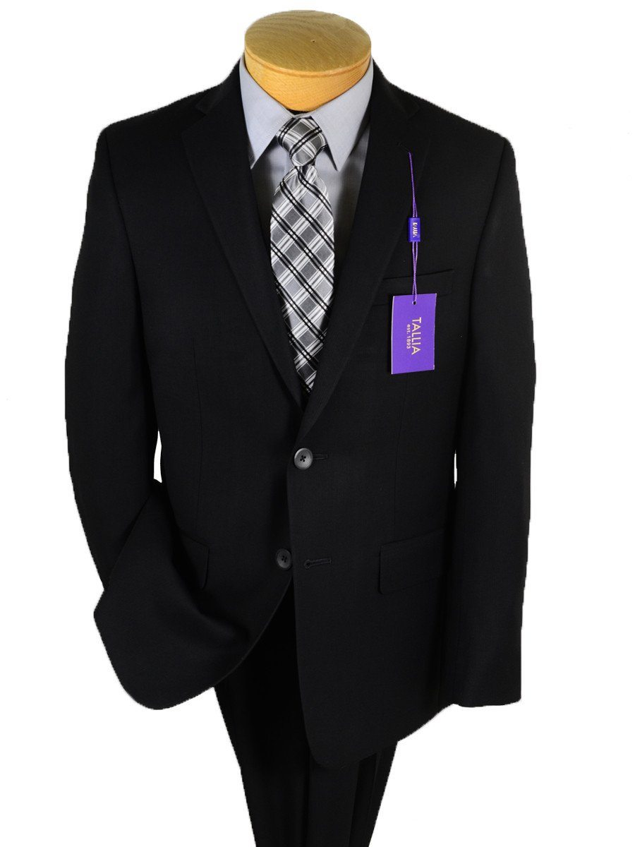 Tallia Purple 20246 70% Polyester / 30% Rayon Boy's 2-Piece Suit - Tonal Stripe - Black, 2-Button Single Breasted Jacket, Plain Front Pant