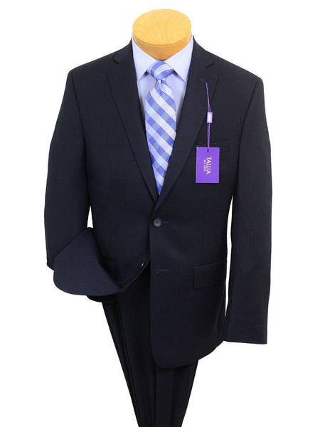 Tallia Purple 20257 71% Polyester / 29% Rayon Boy's 2-Piece Suit - Stripe - Navy, 2-Button Single Breasted Jacket, Plain Front Pant