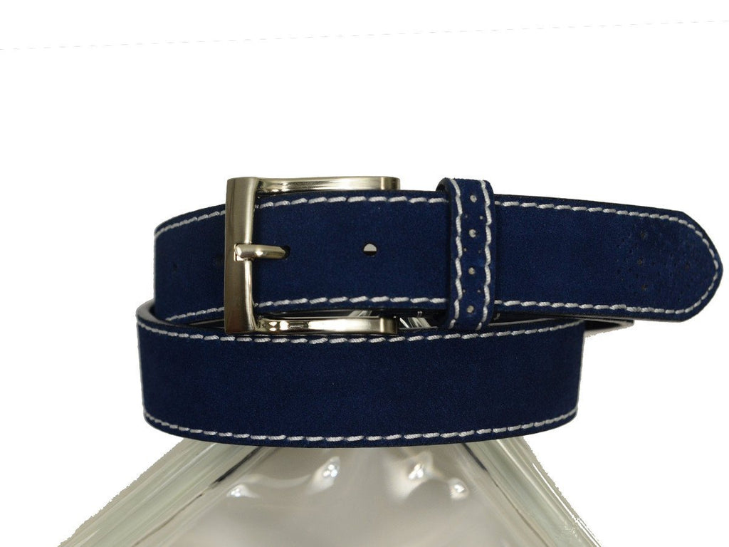 Florsheim 20306 100% Suede Leather With White Contrast Stitching Boy's Belt - Perforated Tip - Blue Boys Belt Florsheim