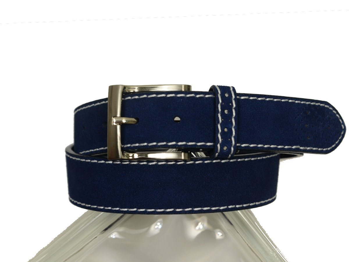 Florsheim 20306 100% Suede Leather With White Contrast Stitching Boy's Belt - Perforated Tip - Blue
