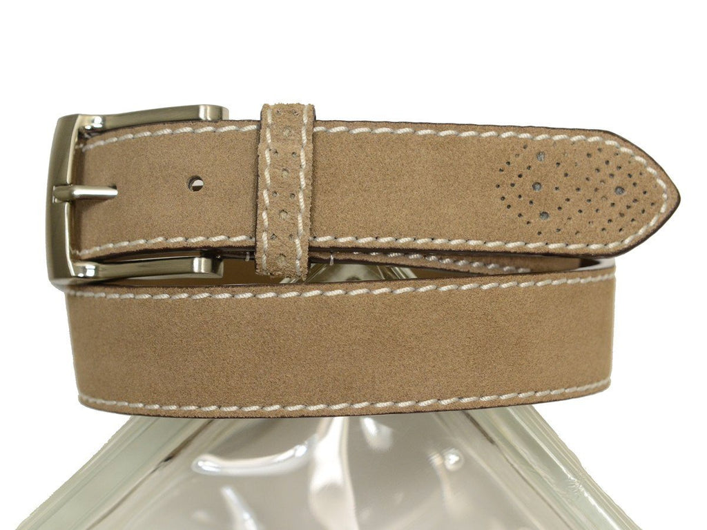 Florsheim 20310 100% Suede Leather With White Contrast Stitching Boy's Belt - Perforated Tip - Sand Boys Belt Florsheim
