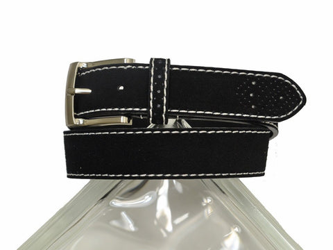 Florsheim 20314 100% Suede Leather With White Contrast Stitching Boy's Belt - Perforated Tip - Black Boys Belt Florsheim