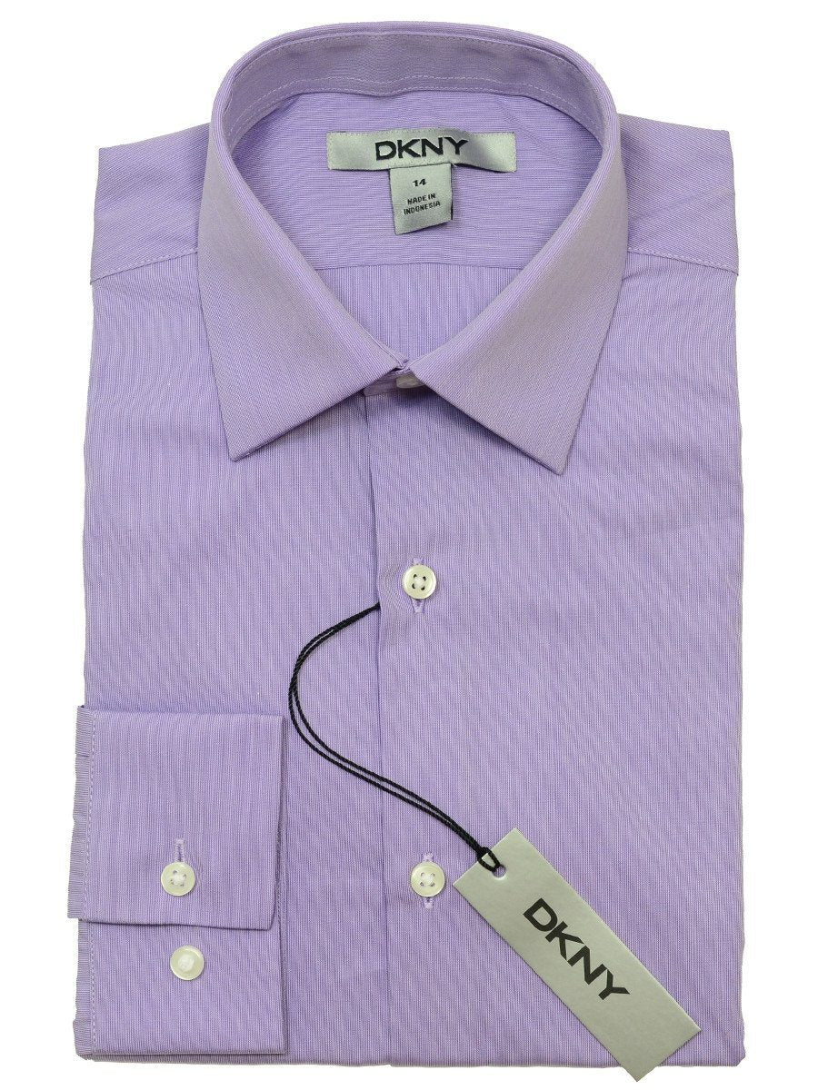 DKNY 20340 100% Cotton Boy's Dress Shirt - Hairline Solid - Purple, Long Sleeve