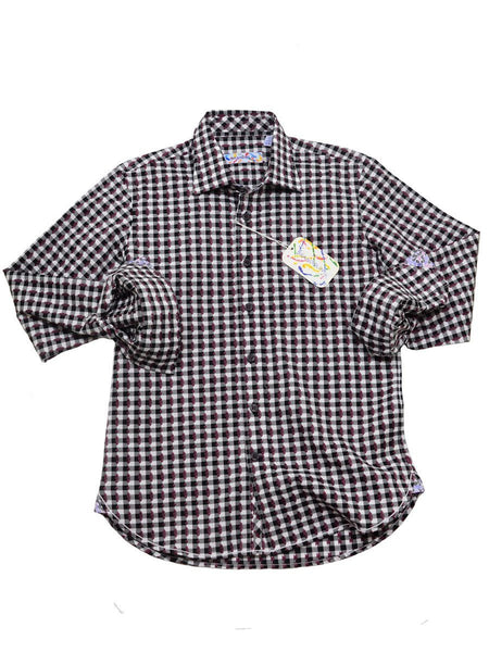 Brandolini 20356 100% Cotton Boy's Sport Shirt - Dobby Checks - Bordeaux/White, Modified Spread Collar