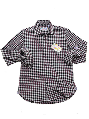 Brandolini 20356 100% Cotton Boy's Sport Shirt - Dobby Checks - Bordeaux/White, Modified Spread Collar Boys Sport Shirt Brandolini