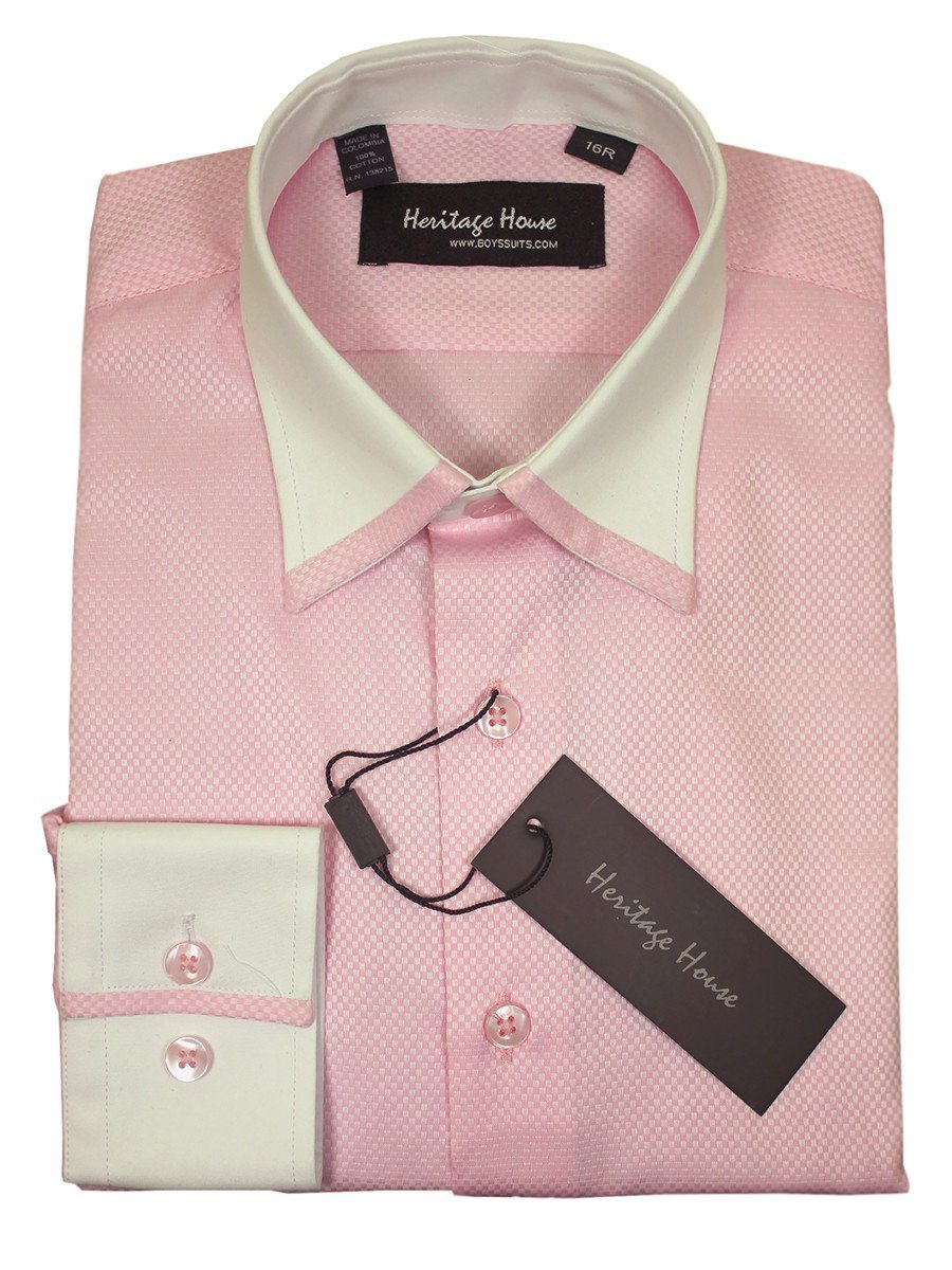 Heritage House 20362 100% Cotton | 100's - 2 Ply Boy's Dress Shirt - Box Weave - Pink And White Boys Dress Shirt Heritage House