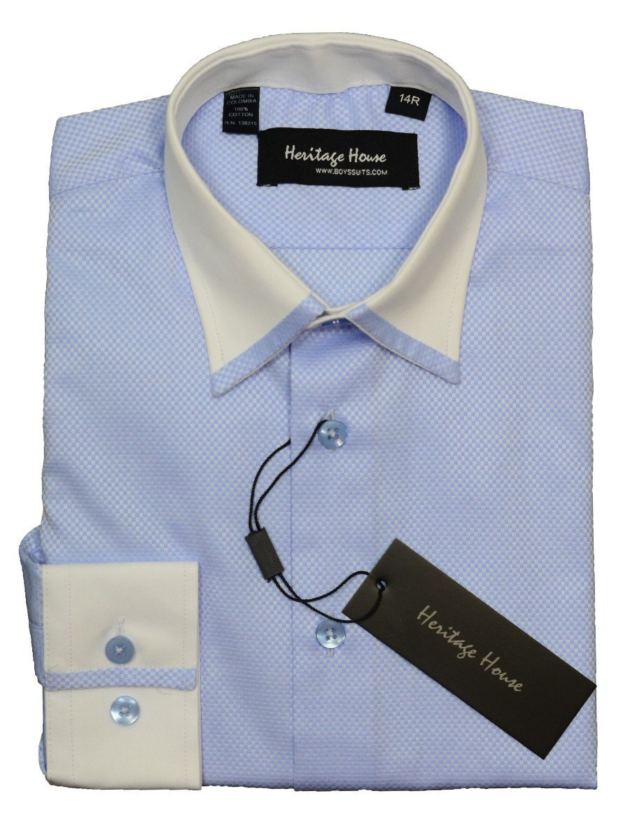 Heritage House 20374 100% Cotton | 100's - 2 Ply Boy's Dress Shirt - Box Weave - Sky Blue And White