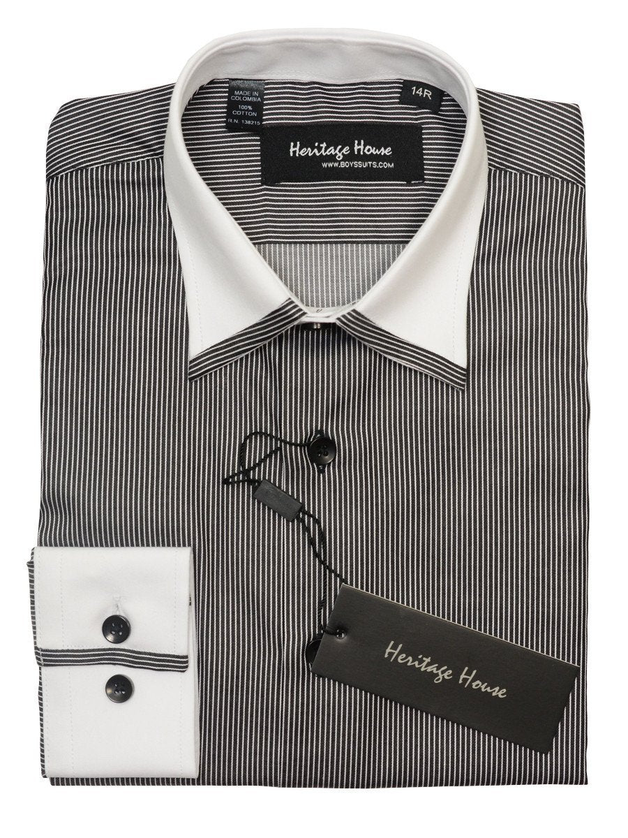 Heritage House 20386 100% Cotton|120's - 2 Ply Boy's Dress Shirt - Stripe - Black And White Boys Dress Shirt Heritage House