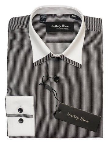 Heritage House 20386 100% Cotton|120's - 2 Ply Boy's Dress Shirt - Stripe - Black And White