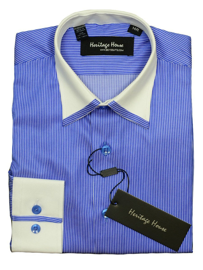 Heritage House 20398 100% Cotton | 120's - 2 Ply Boy's Dress Shirt - Stripe - Royal Blue And White Boys Dress Shirt Heritage House
