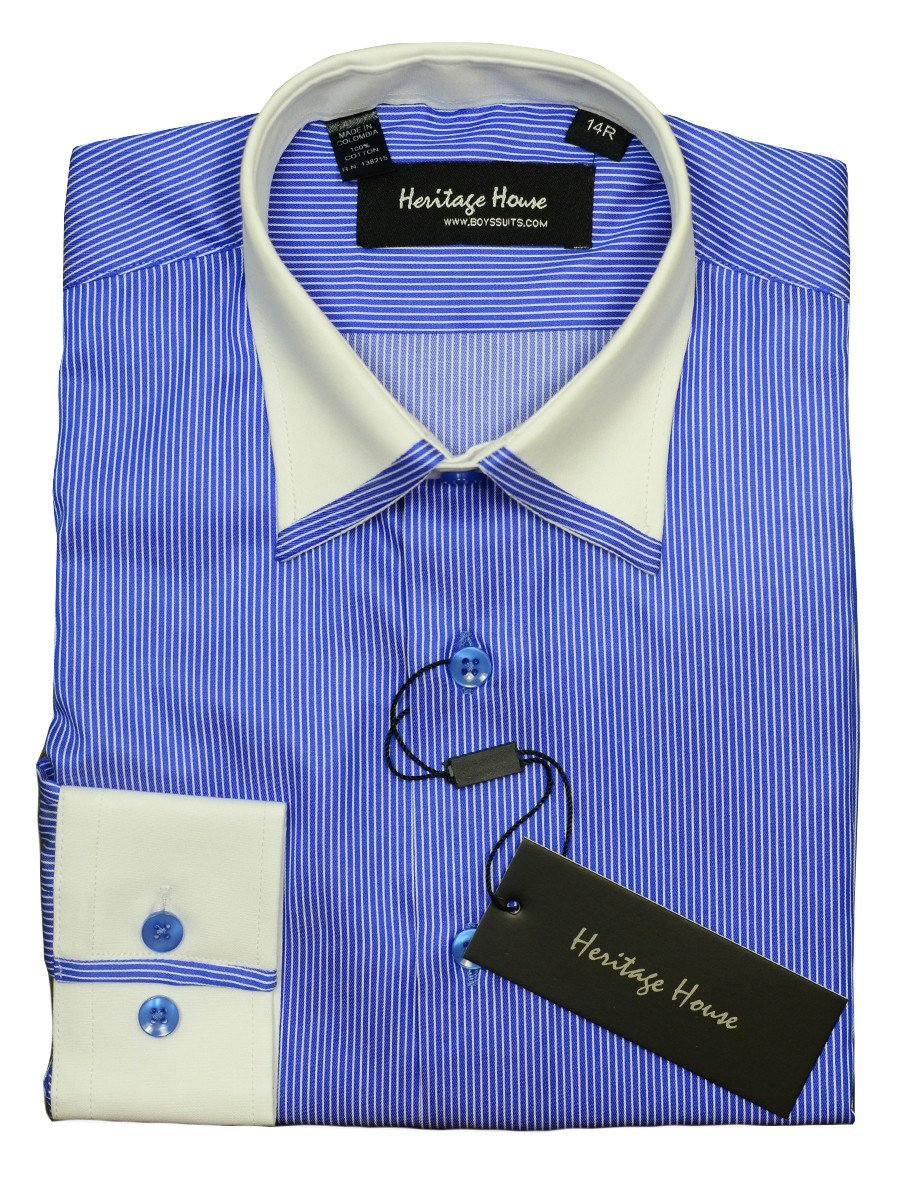Heritage House 20398 100% Cotton | 120's - 2 Ply Boy's Dress Shirt - Stripe - Royal Blue And White