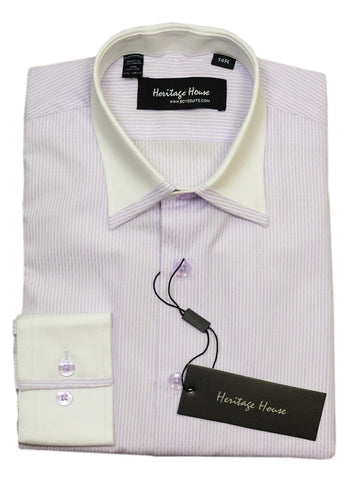 Heritage House 20410 100% Cotton | 140's - 2 Ply Boy's Dress Shirt - Stripe - Lilac Boys Dress Shirt Heritage House