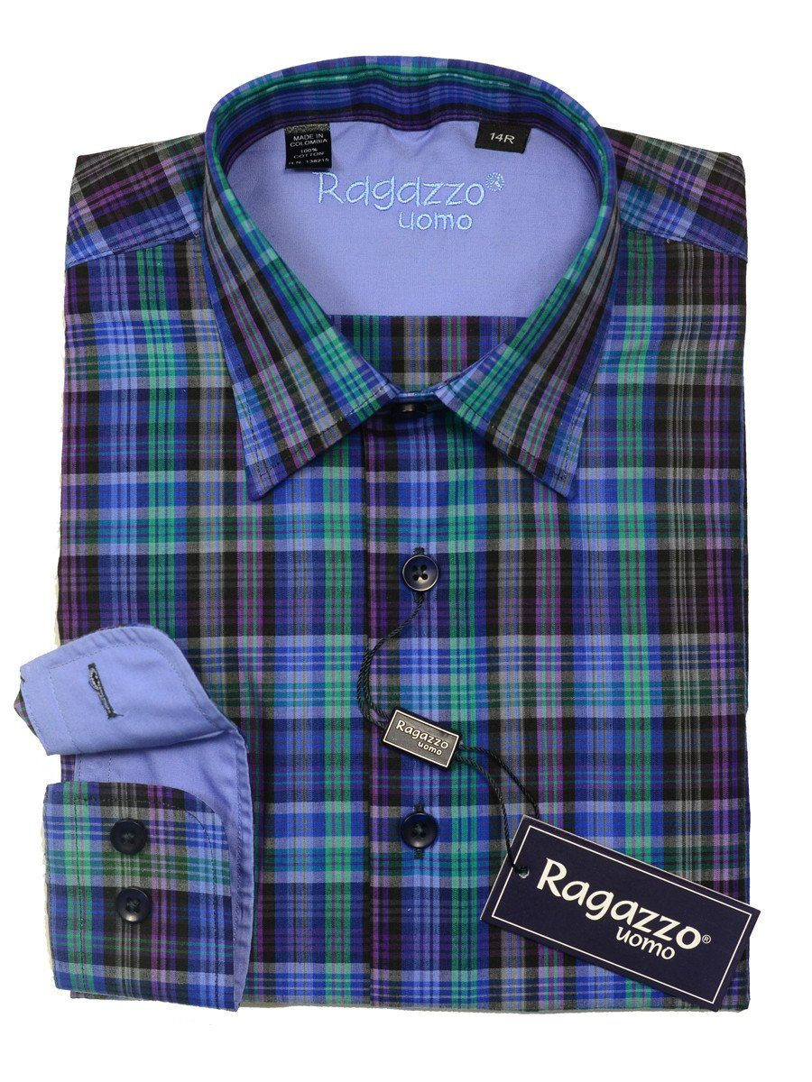 Ragazzo 20438 100% Cotton Boy's Sport Shirt - Plaid - Blue/Green/Purple, Modified Spread Collar Boys Dress Shirt Ragazzo