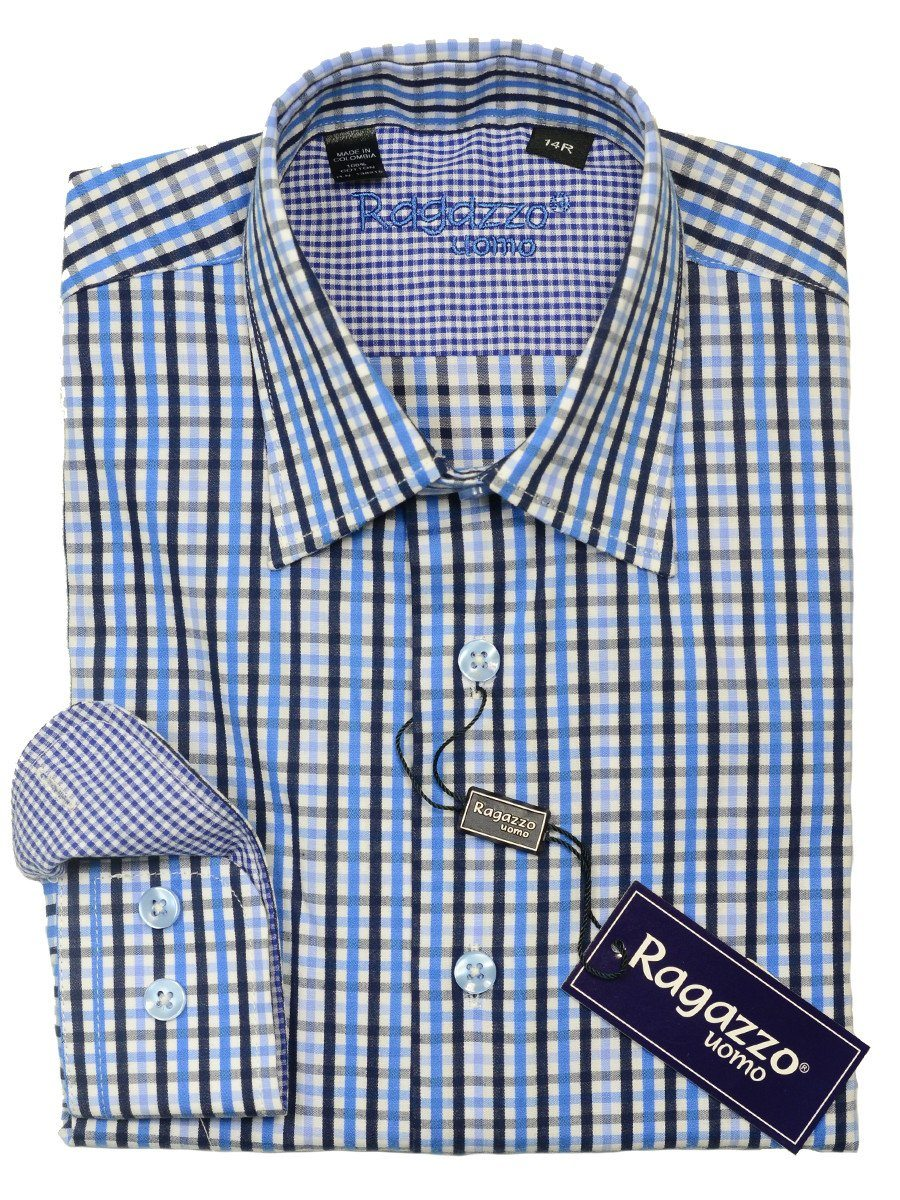Ragazzo 20445 100% Cotton Boy's Sport Shirt - Plaid - Blue/White, Modified Spread Collar