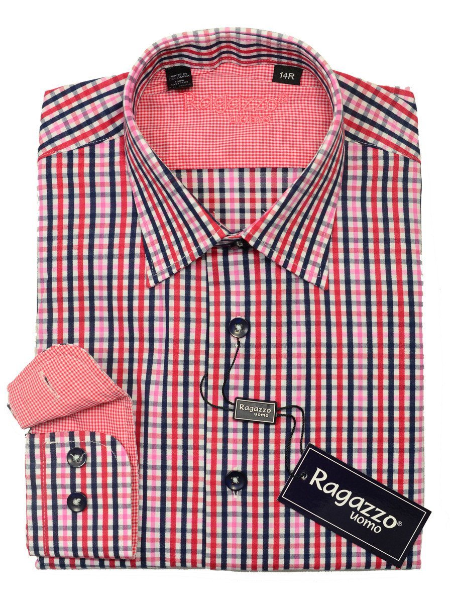 Ragazzo 20452 100% Cotton Boy's Sport Shirt - Plaid - Red/Pink/Navy, Modified Spread Collar
