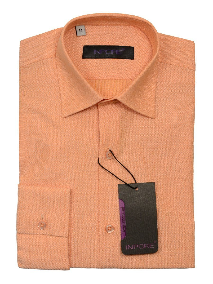 Inpore 20568 100% Cotton Boy's Dress Shirt - Basket Weave - Peach, Long Sleeve