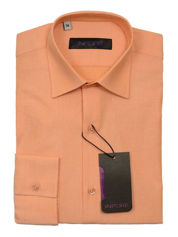 Inpore 20568 100% Cotton Boy's Dress Shirt - Basket Weave - Peach, Long Sleeve Boys Dress Shirt Inpore