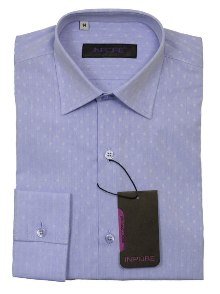 Inpore 20575 100% Cotton Boy's Dress Shirt - Dots- Blue, Long Sleeve