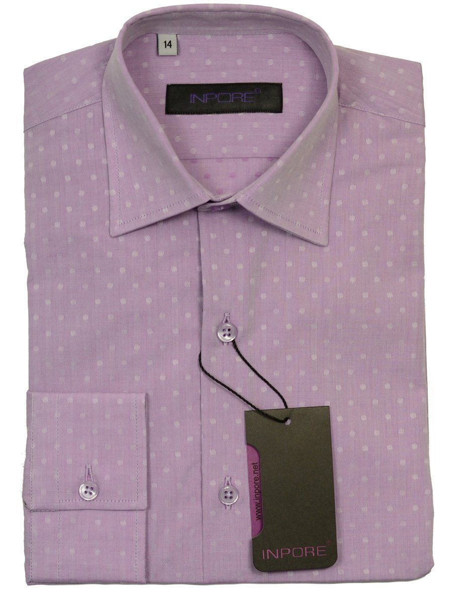 Inpore 20582 100% Cotton Boy's Dress Shirt - Dots - Lavender, Long Sleeve