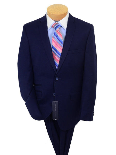 Andrew Marc 20589 68% Polyester / 38% Rayon Boy's 2-piece Suit  - Weave - Navy, 2-Button Single Breasted Jacket, Plain Front Pant