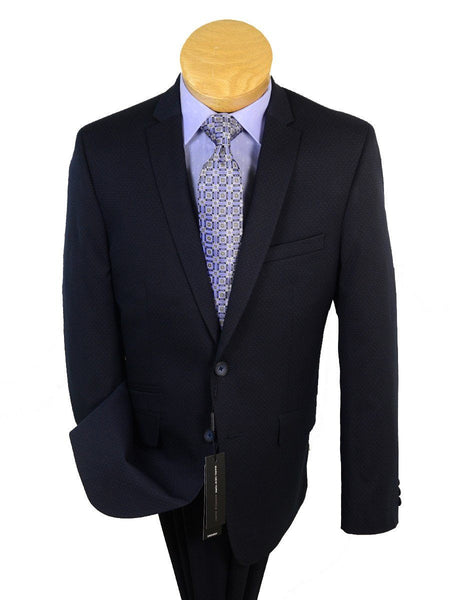 Andrew Marc 20596 73% Polyester / 23% Rayon / 4% Lycra Boy's 2-Piece Suit - Dot - Navy, 2-Button Single Breasted Jacket, Plain Front Pant